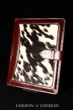 iPad 2 3 & 4 (Brown Fur Cowskin) Real Genuine Leather Cover Case Stand Folio
