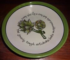 Certified International Judy Phipps Green Trim Artichoke Vegetables Coupe Bowl
