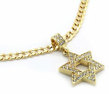 "Men Gold Plated Star Of David Cz Pendant Hip-Hop 24"" 6mm Cuban Necklace Chain M1"
