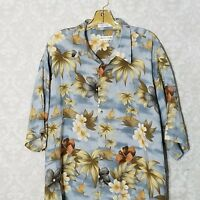 Men's Pierre Cardin Light Blue Multi Floral Hawaiian Shirt Aloha Palm Floral XL