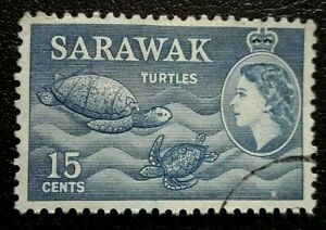 Sarawak :1955 -1957 Queen Elizabeth II & Local Motifs. Rare & Collectible Stamp.
