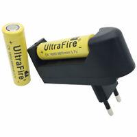 2X 18650 9800mAh Battery 3.7V Li-ion Flat Top Rechargeable+4.2V Charger EU Plug
