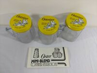 Osterizer 1/2 Pint Liquefier-Blender Mini-Blend Containers Set of 3 USA 1978