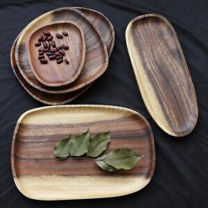 Large Natural Wood Plate Wooden Irregular Dish Serving Food Dessert Kitche