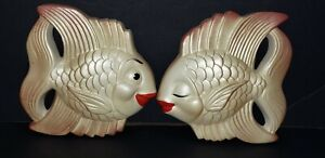 Pair Vintage 1954 Miller Studio Chalkware MCM Kissing Lips Angel Fish Cream Pink