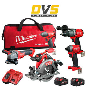 Milwaukee M18FPP5M-502B Cordless 18V M18 FUEL 5 Piece Combo Set M18FPD2 M18FID2