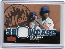 PEDRO MARTINEZ 2006 FLAIR SHOWCASE STITCHES GAME WORN PINSTRIPE JERSEY ~  METS