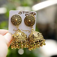 Retro Oxidized Gold Plated Bell Hook Drop Jhumka Jhumki Women Earrings Jewelry