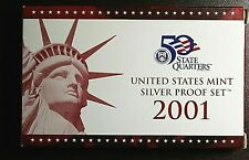 2001-S US Mint Silver Proof Set Includes Silver State Quarter Proofs - Box & COA