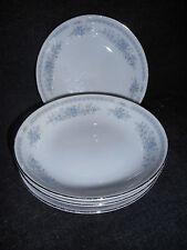 "(4) Fine Porcelain China Japan Cristine berry bowls 5 1/2"" white w/blue floral"