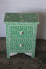 Handmade Dyed Bone Inlay Floral Wooden Green Bedside Table Nightstand Stool
