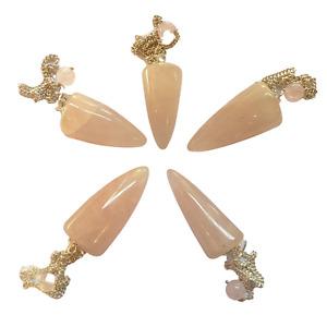 Gemstone Magic Pendulum with Chain - Rose Quartz - Bullet Shape