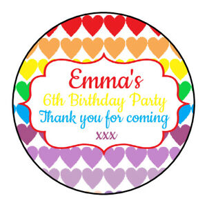 Personalised Rainbow Heart Pastel Birthday Thank You Party Stickers Sweet Cones