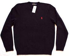 Da Uomo Polo Ralph Lauren lana Crew Neck Sweater Maglione Blu Navy Blue M RRP £ 115