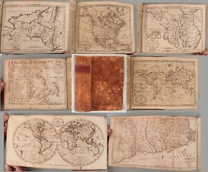 1796 Antique 18thC The American Universal Geography Book 18 US State Maps, World
