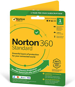 Norton 360 Standard 2020, Antivirus software for 1 Device and 1-year with Secure