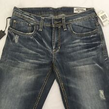 Buffalo Mens 30x34 Driven Straight Leg Veined Thick Stitch Distressed Blue Jeans