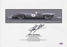 JOHN SURTESS MOTORCYCLE AND F1 LEGEND SIGNED VINTAGE OFFICIAL PHOTO PSA