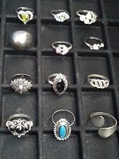 LOT OF 12 SILVER TONE FASHION RINGS