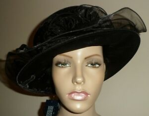 M&S  BLACK ORGANZA FOLDABLE PACKABLE WEDDING FORMAL DRESS HAT NEW S / M