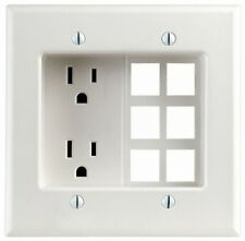 Leviton 690-W 15A  2-Gang Recessd Device with Duplex Receptacle QuickPort Plate