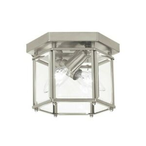 Sea Gull Lighting Bretton 2 Light Ceiling Flush Mount, Nickel - 7647EN-962