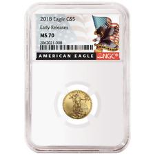 2018 $5 American Gold Eagle 1/10 oz. NGC MS70 Black ER Label