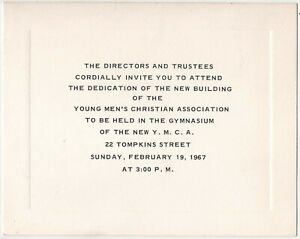Cortland NY YMCA 1967 Building Dedication Invitation Vintage