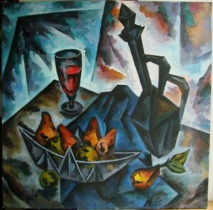Russian Ukrainian Soviet Oil Painting Still Life Cubism Nonconformist flagon
