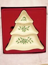 LENOX DIVIDED CHRISTMAS DISH HOLLY DESIGN