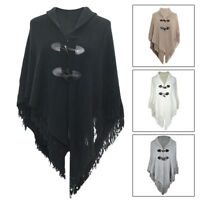 Women Irregular Fringe Cape Poncho Shawl Scarf Sweater Jacket Coat Knit Cardigan
