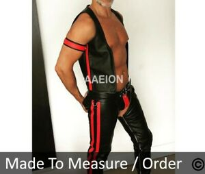 Men's Real Leather Bikers Chaps Leather Chaps available in 3 COLORS Of Stripes