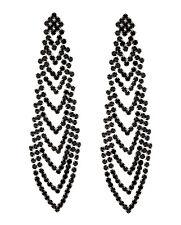 Orecchini a Clip-Argento Lampadario Orecchini con cristalli Nero-CALLA B