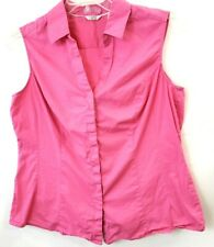 Riders Womens Sleeveless Button Up Shirt Slimming Size XL Pink