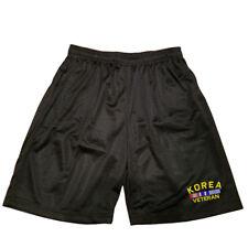 KOREA VETERAN RIBBON Men Athletic Jersey Mesh 2 pockets Black Basketball Shorts