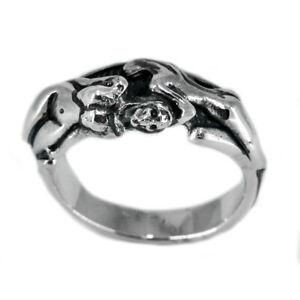 10g naked sexy skull angel girl ass women 925 sterling silver biker ring allsize