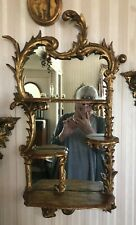 Antique French Giltwood And Gesso Hand Carved Mirror With Shelves, Rococo?