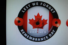 "REMEMBRANCE DAY  STICKERS CANADA  2 x RED POPPIES [ LEST WE FORGET]  3"" appr"