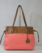 NWT! Michael Kors Marina East West Drawstring Tote in Coral Canvas & Tan Leather