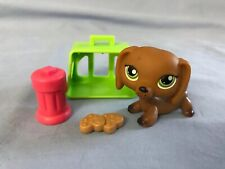 Littlest Pet Shop #139 brown dachshund dog green eyes