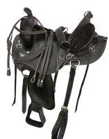 USED BLACK 15 16 17 18 ENDURANCE WESTERN PLEASURE TRAIL HORSE SADDLE TACK SET