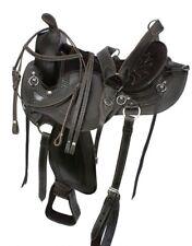 COMFY BLACK 16 17 WESTERN PLEASURE TRAIL BARREL HORSE LEATHER SADDLE TACK
