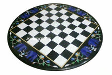 "18"" Marble Chess Table Top Lapis Inlay Handmade Work Home Decor & Gifts"