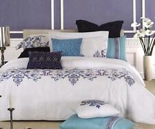 ASHTON King Quilt Cover Set White Embroidered Blue Soft-Feel Duvet Doona