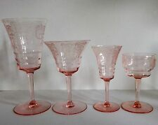 RARE Set 29 Glasses Crystal Etched Cambridge Cleo Etched Optic Pink Depression