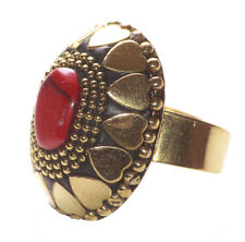 Enigmatic Gold Hearts/ruby Red Stone Centre Stretchable Oval Hand Ring(Ns9)