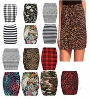 WOMENS LADIES LEOPARD TARTAN SKULL STRETCH SHORT MINI PENCIL SKIRT PLUS SIZE8-22