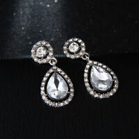 Women Long Teardrop Crystal Ear Stud Round Drop Dangle Earrings Jewelry Gift CB