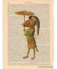 Zebra Man Art Print on Antique Book Page Vintage Illustration Mardi Gras Costume