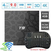 Lot T9 Android 9.0 4K TV BOX RK3328 Quad Core 32GB BT WiFi Media Player+Keyboard